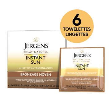 Image 2 du produit Jergens - Éclat Naturel Instant Sun lingettes à bronzage moyen, 6 unités