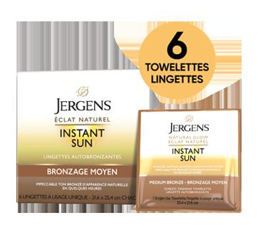 Image 2 du produit Jergens - Éclat naturel, Instant Sun lingettes, 6 unités, moyen