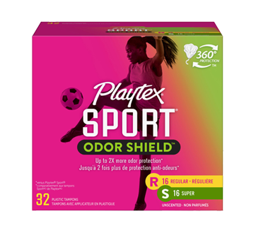 Multi-emballage de tampons non parfumés Sport Odor Shield, 32 unités, régulier/super