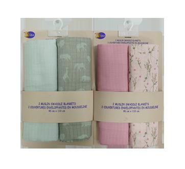 2 couvertures enveloppantes en mousseline 90 cm x 110 cm, 2 unités