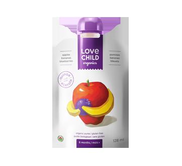 Purée biologique pour enfants, 128 ml, pommes-bananes-bleuets