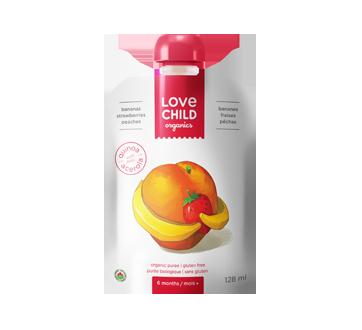 Purée biologique pour enfants, 128 ml, bananes-fraises-pêches