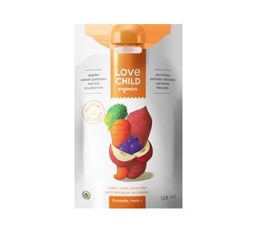 Purée biologique pour enfants, 128 ml, pommes-bleuets-patates douces-carottes
