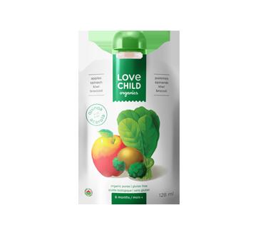 Purée biologique pour enfants, 128 ml, pommes-kiwi-épinards-brocoli