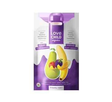 Purée biologique avec yogourt pour enfants, 128 ml, bananes-poires-mûres-framboises