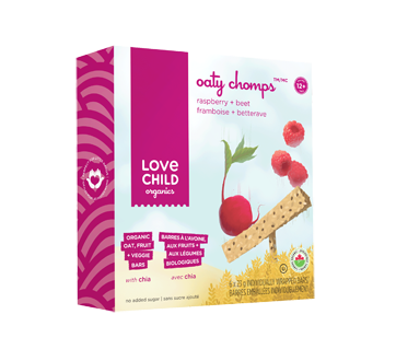 Oaty Chomps barres biologiques, 6 x 23 g, framboise + bettrave