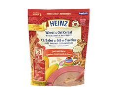 Image du produit Heinz - Cereales de ble et d'avoine avec bananes et framboises, 227 g