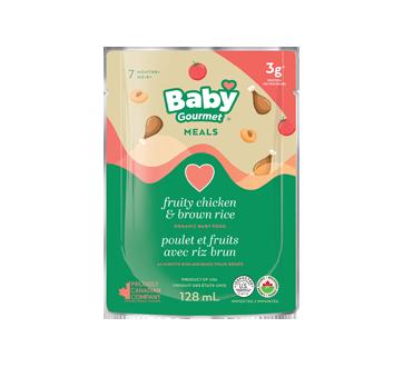Nourriture biologique pour bébé, 128 ml, poulet et fruits avec riz brun