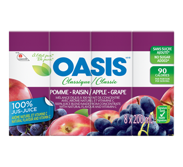 Jus de fruits, 8 x 200 ml, pomme-raisin