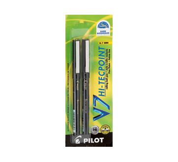 V7 Hi-Tecpoint stylo à bille fine, 2 unités, noir