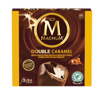 Barres de crème glacée double caramel, 3 x 90 ml