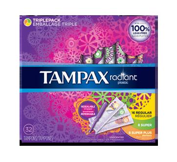 Radiant tampons avec applicateurs en plastique emballage triple degré d'absorption régulier/super/super plus) non parfumés, 32 unités