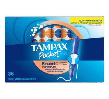 Pocket Pearl tampons compacts super plus non parfumés, 36 unités