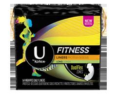 Image du produit U by Kotex - Fitness protège-dessous format long, 64 unités, absorption légère, non parfumés