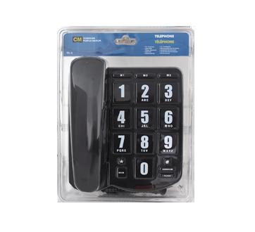Téléphone à gros boutons, 1 unité, noir