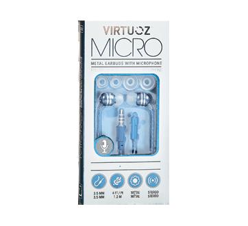 Écouteurs métalliques avec microphone, 1 unité, bleu