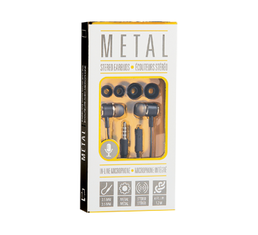Écouteurs métalliques avec microphone, 1 unité, noir et gris