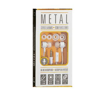 Écouteurs métalliques avec microphone, 1 unité, blanc et or