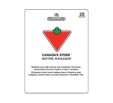 Carte-cadeau Canadian Tire de 25 $, 1 unité