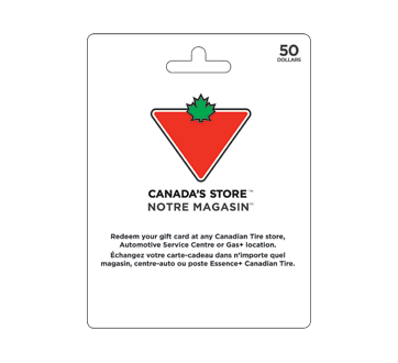 Carte-cadeau Canadian Tire de 50 $, 1 unité