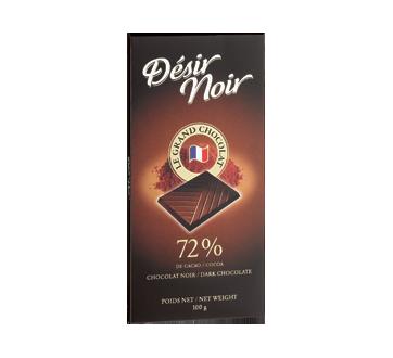 Tablette de chocolat noir 72%, 100 g