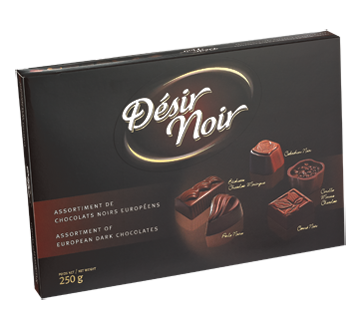 Boîte assortiment de chocolats noir, 250 g