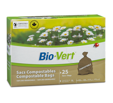Sac compostable, 25 sacs, 17 x 17 po