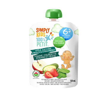 Purée biologique pour bébés, 128 ml, pomme, courgette, épinard, fraise