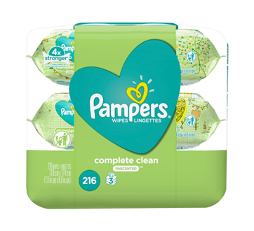 Lingettes pour bébés non parfumées Complete Clean, 3Xboîtes distributrices, 216 unités