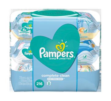 Lingettes pour bébés parfumées Complete Clean, 3Xboîtes distributrices, 216 unités