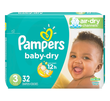Couches baby dry 32 couches taille 3 format jumbo pampers couche jean coutu - Couche baby dry taille 3 ...