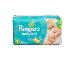 Image du produit Pampers - Couches Baby Dry, 44 couches, taille 1, format jumbo