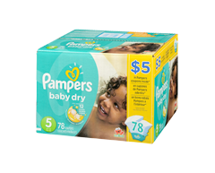 Image du produit Pampers - Couches Baby Dry, 78 couches, taille 5, format super