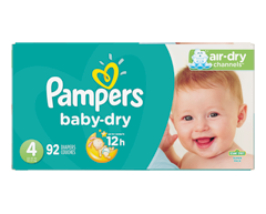 Image du produit Pampers - Couches Baby Dry, 92 couches, taille 4, format super