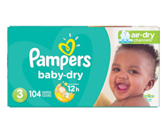 Image du produit Pampers - Couches Baby Dry, 104 couches, taille 3, format super
