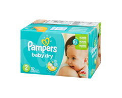 Image du produit Pampers - Couches Baby Dry, 112 couches, taille 2, format super