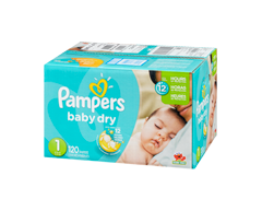 Image du produit Pampers - Couches Baby Dry, 120 couches, taille 1, format super