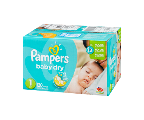 Couches baby dry 120 couches taille 1 format super pampers soins personnels jean coutu - Couches pampers taille 1 ...