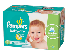 Image du produit Pampers - Couches Baby Dry, 128 couches, taille 4, format géant