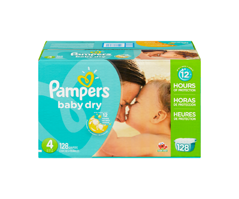 Couches baby dry 128 couches taille 4 format g ant pampers soins personnels jean coutu - Couches pampers baby dry ...