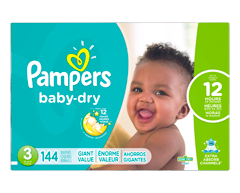 Image du produit Pampers - Couches Baby Dry, 144 couches, taille 3, format géant
