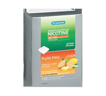 Image du produit Personnelle - Gomme de polacrilex de nicotine, régulier, Fruits frais, 2 mg, 110 unités, fruits frais