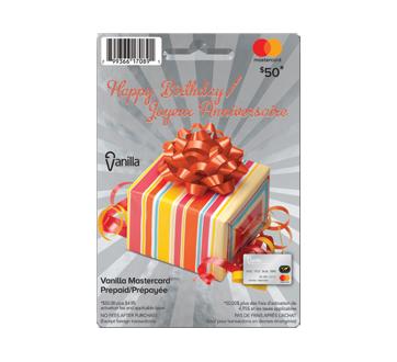 Vanilla Mastercard Joyeux Anniversaire carte prépayée de 50 $, 1 unité