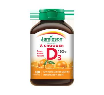 Image 1 du produit Jamieson - Vitamine D 1,000 ui croquable, orange, 100 unités