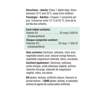 Image 2 du produit Jamieson - Vitamine D 1,000 ui croquable, orange, 100 unités