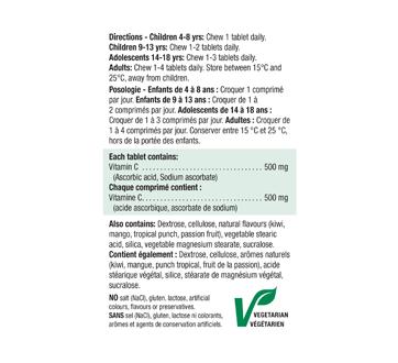 Image 2 du produit Jamieson - Vitamine C 500 mg  croquable,  fruit stropicaux, 100+20 unités