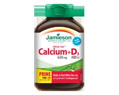 Image du produit Jamieson - Mega Cal Calcium 650 mg + Vitamine D3 400 IU  , 120 unités