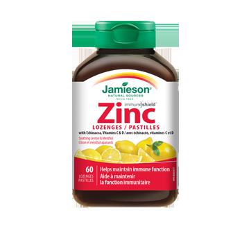 Image du produit Jamieson - Pastilles zinc avec échinacée, vitamines C & D, 60 unités, citron et menthol apaisants