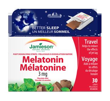 Image du produit Jamieson - Melatonine-3 dissolution rapide 3 mg, chocolat menthe, 30 unités