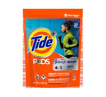 Pods avec Febreze Odor Defense capsules de détergent à lessive, 23 unités, Active Fresh